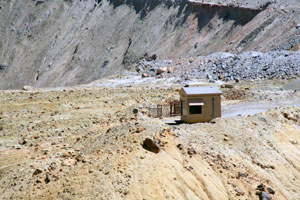 This observation stand overlooking the Berkeley Pit is used by Montana Resources (MR) as part of their bird mitigation program.