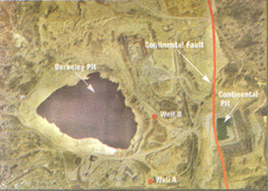 The Berkeley Pit, Continental Fault, and the two wells that showed water level changes after a July 2005 earthquake.