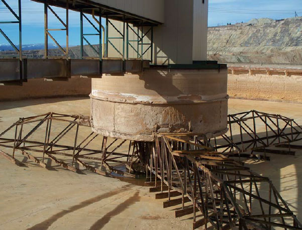 A clarifier, drained for maintenance, at the Horseshoe Bend Water Treatment Plant. The plant will eventually be required to treat water from the Berkeley Pit. Photo from the EPA Five Year Review Report (2011) for the site.