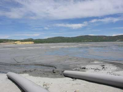 The Yankee Doodle Tailings Pond, part of the active Montana Resources mine that borders the Berkeley Pit, in 2008.
