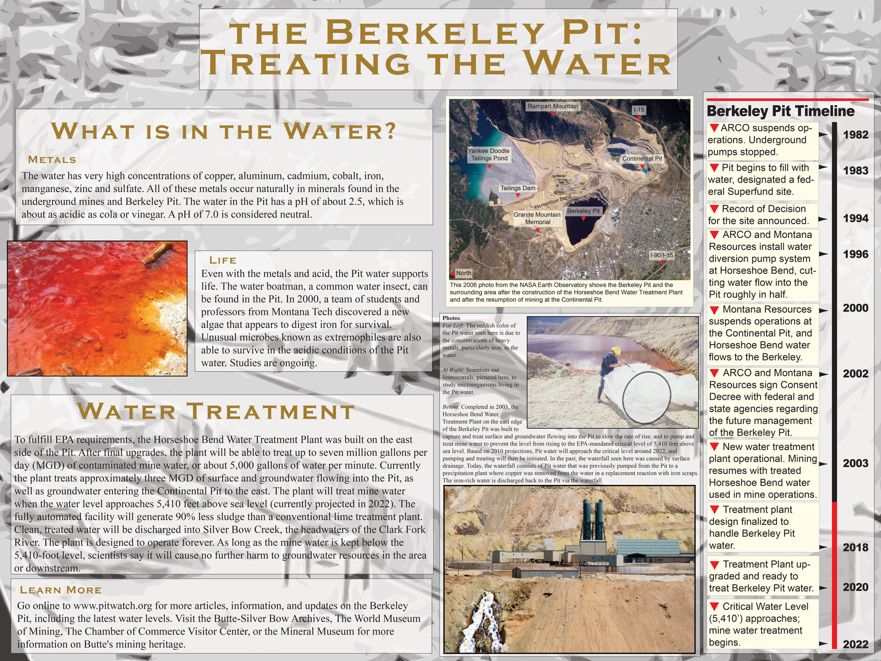 Berkeley Pit Poster Series: Treating the Water. Click on the image to view a larger version, or use the links at the bottom of the page to download a high-resolution version.