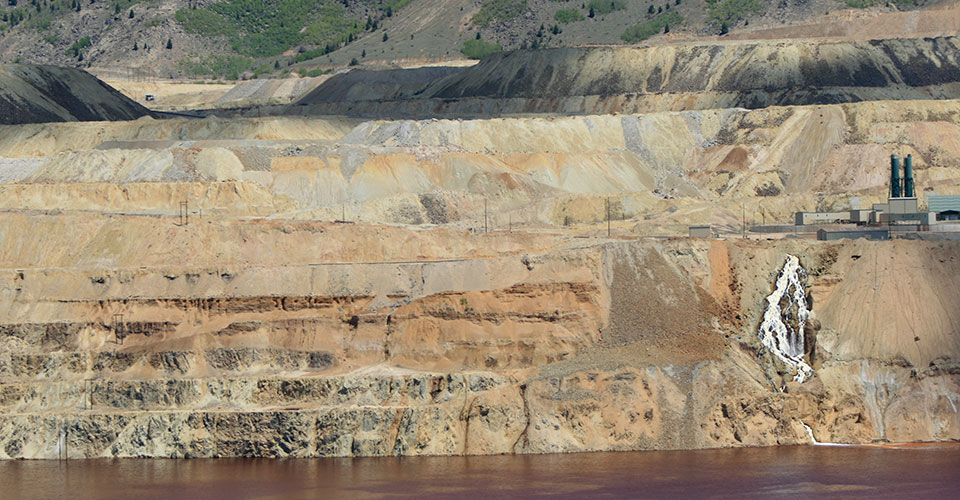The waterfall on the southeast rim of the Berkeley Pit, near the Horseshoe Bend Water Treatment Plant as it appeared in 2009. The waterfall has stopped flowing since a Feb. 2013 slough from the Pit wall knocked out a pump used for Montana Resources copper precipitation plant.