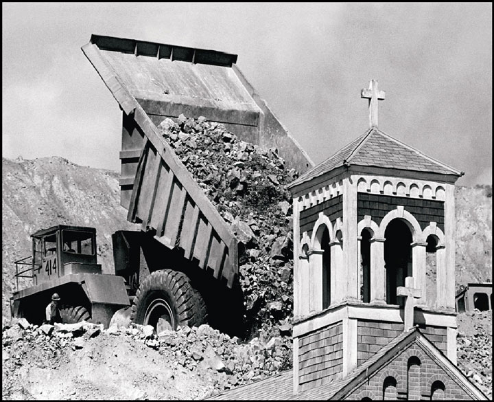 The Holy Savior church, along with several historic neighborhoods in Butte, Montana, was buried to make way for Berkeley Pit expansion. Photo from the Butte-Silver Bow Archives.