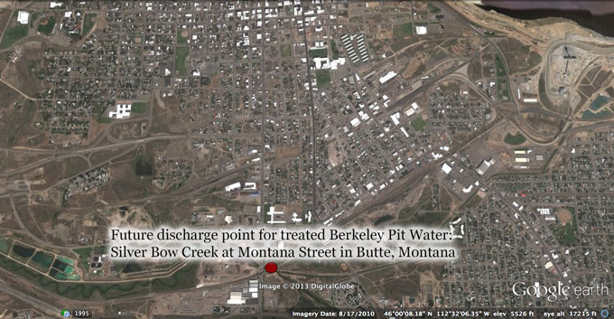 If the adjacent Continental Pit mine is no longer active, Berkeley Pit water treated at the Horseshoe Bend plant will be pumped to Silver Bow Creek near Montana Street in Butte. Image from Google Earth.