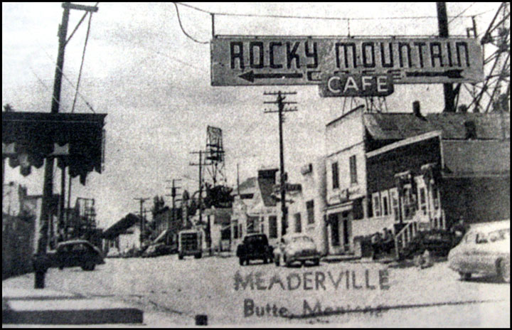 A street in Meaderville, one of the Butte neighborhoods destroyed to make way for Berkeley Pit expansion between 1955 and 1982. Photo from the Butte-Silver Bow Archives.