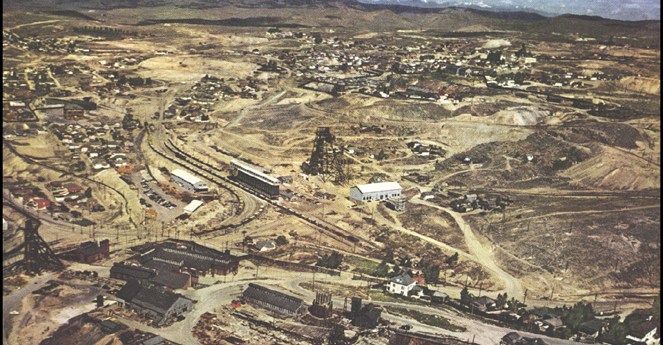 The future site of the Berkeley Pit in Butte, Montana as it appeared in 1952