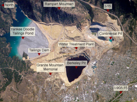 This 2006 image from the NASA Earth Observatory shows the Berkeley Pit and surrounding area after the construction of the Horseshoe Bend Water Treatment Plant and after the resumption of mining at the Continental Pit.