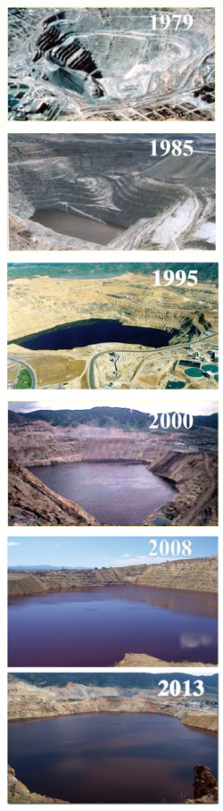 Water in the Berkeley Pit rising, 1979-2013. Photos from the Montana Bureau of Mines & Geology, Justin Ringsak, and Fritz Daily.