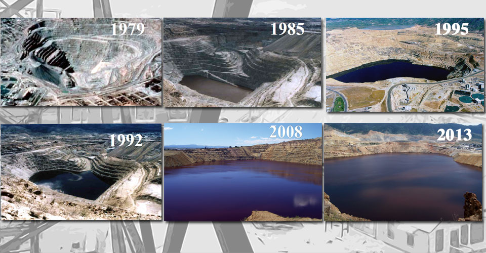 Water in the Berkeley Pit rising over time