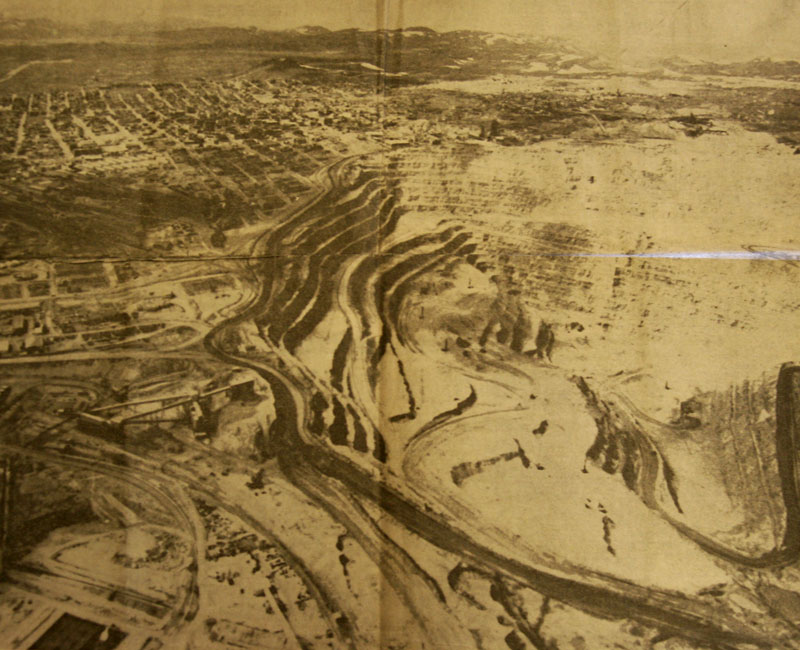 The Berkeley Pit in Butte, Montana in 1973. Photo from The Seattle Daily.