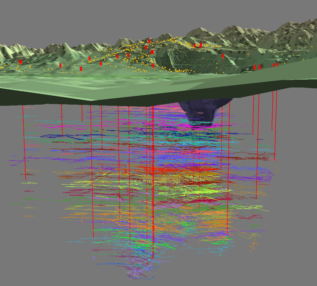 The Montana Bureau of Mines & Geology (MBMG) developed this computer model showing Butte topography and the corresponding underground tunnels from the years of historic underground mining.